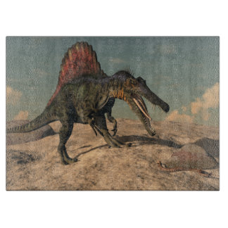 Spinosaurus dinosaur hunting a snake cutting board