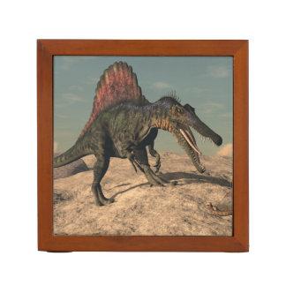 Spinosaurus dinosaur hunting a snake desk organizer