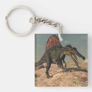 Spinosaurus dinosaur hunting a snake Double-Sided square acrylic keychain
