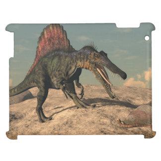 Spinosaurus dinosaur hunting a snake iPad cover