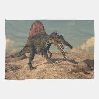 Spinosaurus dinosaur hunting a snake kitchen towel