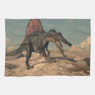 Spinosaurus dinosaur hunting a snake kitchen towels