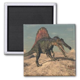 Spinosaurus dinosaur hunting a snake magnet