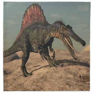 Spinosaurus dinosaur hunting a snake napkin