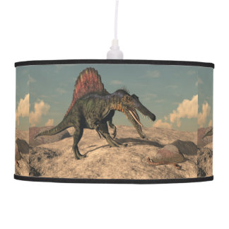 Spinosaurus dinosaur hunting a snake pendant lamp
