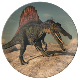 Spinosaurus dinosaur hunting a snake plate