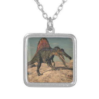 Spinosaurus dinosaur hunting a snake silver plated necklace
