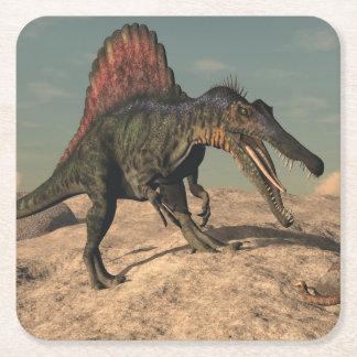 Spinosaurus dinosaur hunting a snake square paper coaster