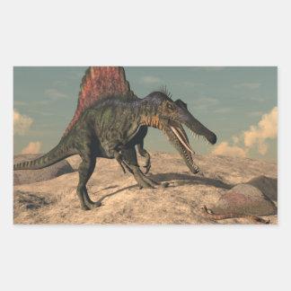 Spinosaurus dinosaur hunting a snake sticker