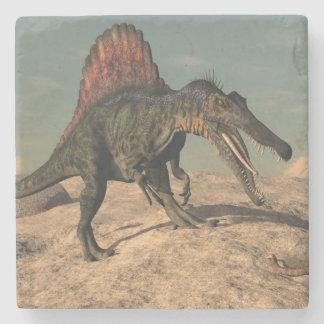 Spinosaurus dinosaur hunting a snake stone coaster
