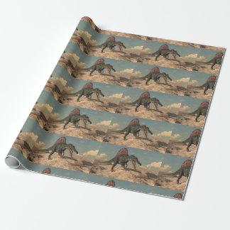 Spinosaurus dinosaur hunting a snake wrapping paper