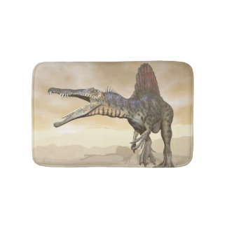 Spinosaurus dinosaur in the desert - 3D render Bath Mat