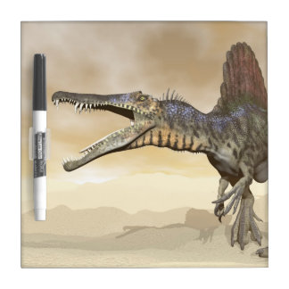 Spinosaurus dinosaur in the desert - 3D render Dry Erase Board