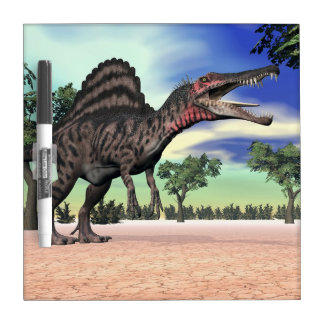 Spinosaurus dinosaur in the desert - 3D render Dry Erase Whiteboards