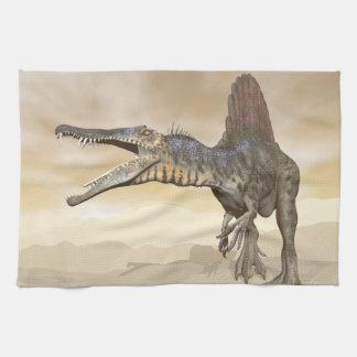 Spinosaurus dinosaur in the desert - 3D render Kitchen Towel