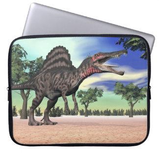 Spinosaurus dinosaur in the desert - 3D render Laptop Sleeve