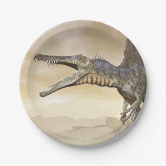 Spinosaurus dinosaur in the desert - 3D render Paper Plate