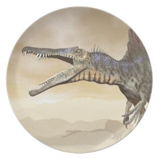 Spinosaurus dinosaur in the desert - 3D render Party Plate
