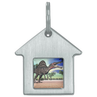 Spinosaurus dinosaur in the desert - 3D render Pet ID Tag