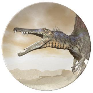 Spinosaurus dinosaur in the desert - 3D render Plate