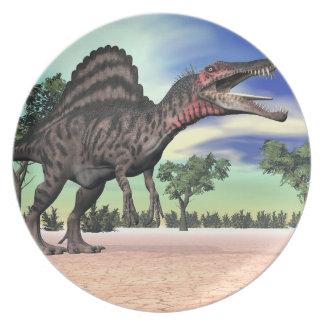 Spinosaurus dinosaur in the desert - 3D render Plates