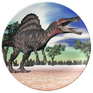 Spinosaurus dinosaur in the desert - 3D render Porcelain Plates