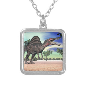 Spinosaurus dinosaur in the desert - 3D render Silver Plated Necklace