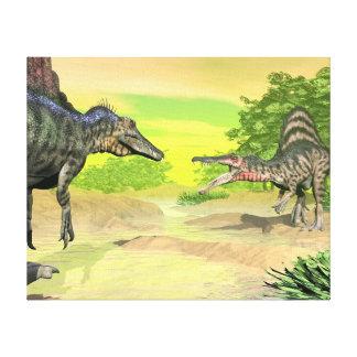 Spinosaurus dinosaurs fight - 3D render Canvas Print