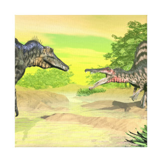 Spinosaurus dinosaurs fight - 3D render Canvas Print