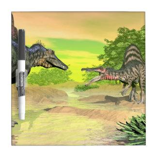 Spinosaurus dinosaurs fight - 3D render Dry Erase Board