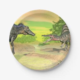 Spinosaurus dinosaurs fight - 3D render Paper Plate