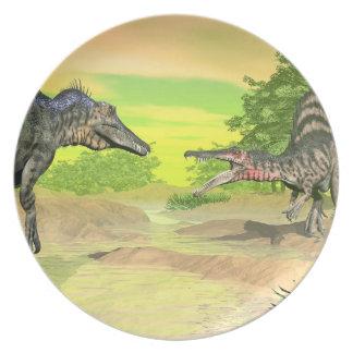Spinosaurus dinosaurs fight - 3D render Plate