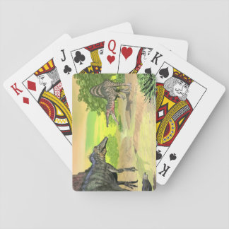 Spinosaurus dinosaurs fight - 3D render Playing Cards