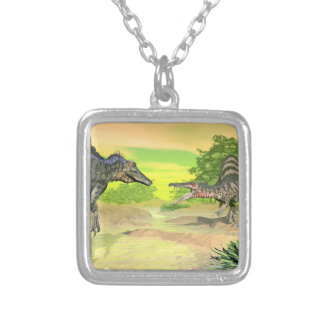 Spinosaurus dinosaurs fight - 3D render Silver Plated Necklace
