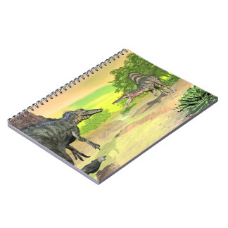 Spinosaurus dinosaurs fight - 3D render Spiral Notebook