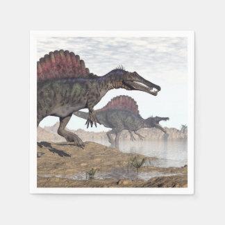 Spinosaurus dinosaurs in desert - 3D render Napkin