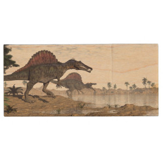Spinosaurus dinosaurs in desert - 3D render Wood USB Flash Drive