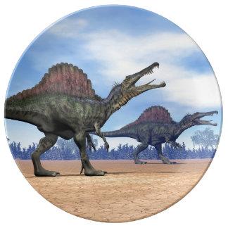 Spinosaurus dinosaurs walk - 3D render Porcelain Plate