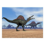 Spinosaurus dinosaurs walk - 3D render Poster