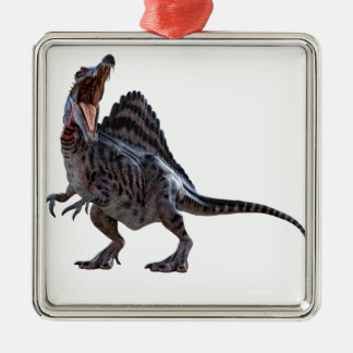 Spinosaurus Squatting and Looking to the Left Silver-Colored Square Ornament