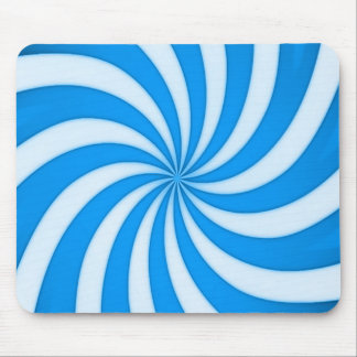 Spiral Baby Blue Candy Cane Stripes Pattern Mouse Pad