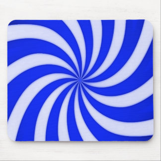 Spiral Blue Candy Cane Stripes Pattern Mouse Pad
