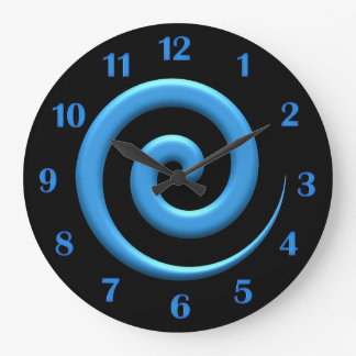 Spiral Blue with Blue Numbers Wall Clock