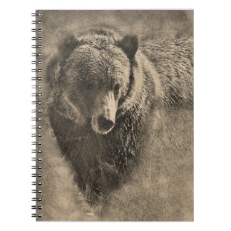 Spiral Bound Note Book with Grizzly Bear Drawing