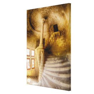 Spiral Chateau Staircase, France Canvas Print