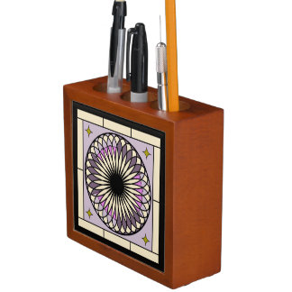 Spiral Deco Purple Design Desk Organizer