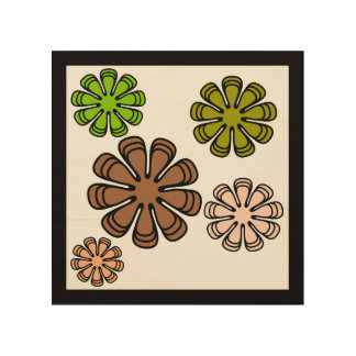 Spiral Flower Camouflage Art Wood Canvases