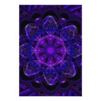 Spiral Flower Fractal Dark Purple UV Pixel Photo Print