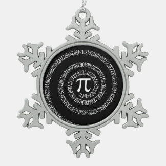 Spiral for Pi on Black Style Pewter Snowflake Ornament