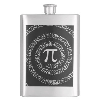Spiral for Pi Typography on Black Hip Flask